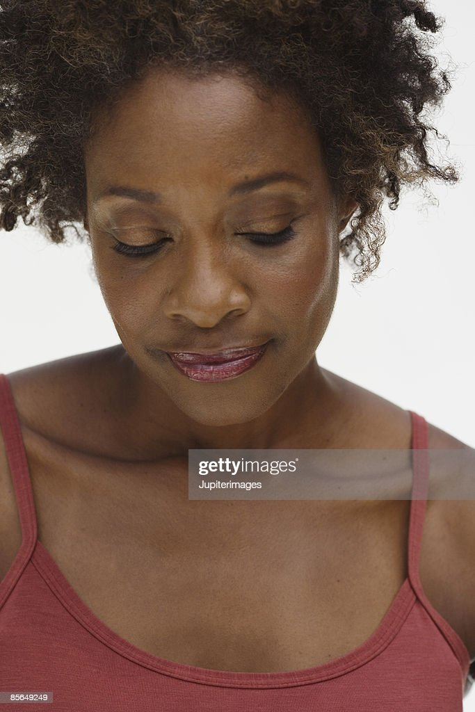 Portrait of woman with eyes closed : Stock Photo