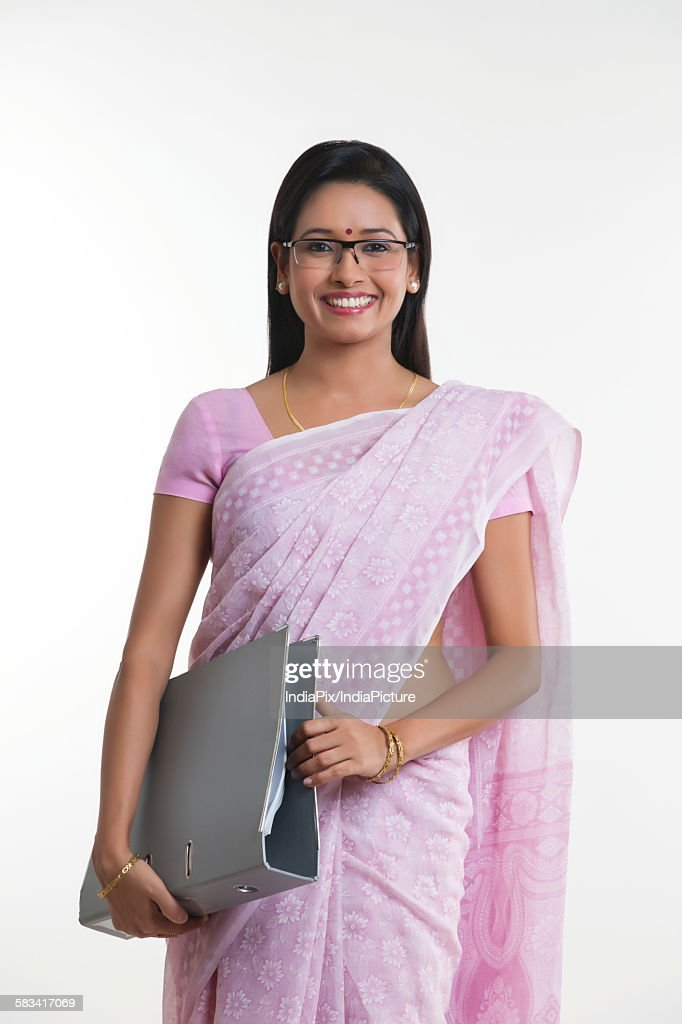 Portrait of woman with file smiling : Stock Photo