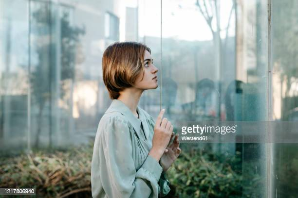 portrait of woman with her face at a glass pane - frau bluse durchsichtig stock-fotos und bilder