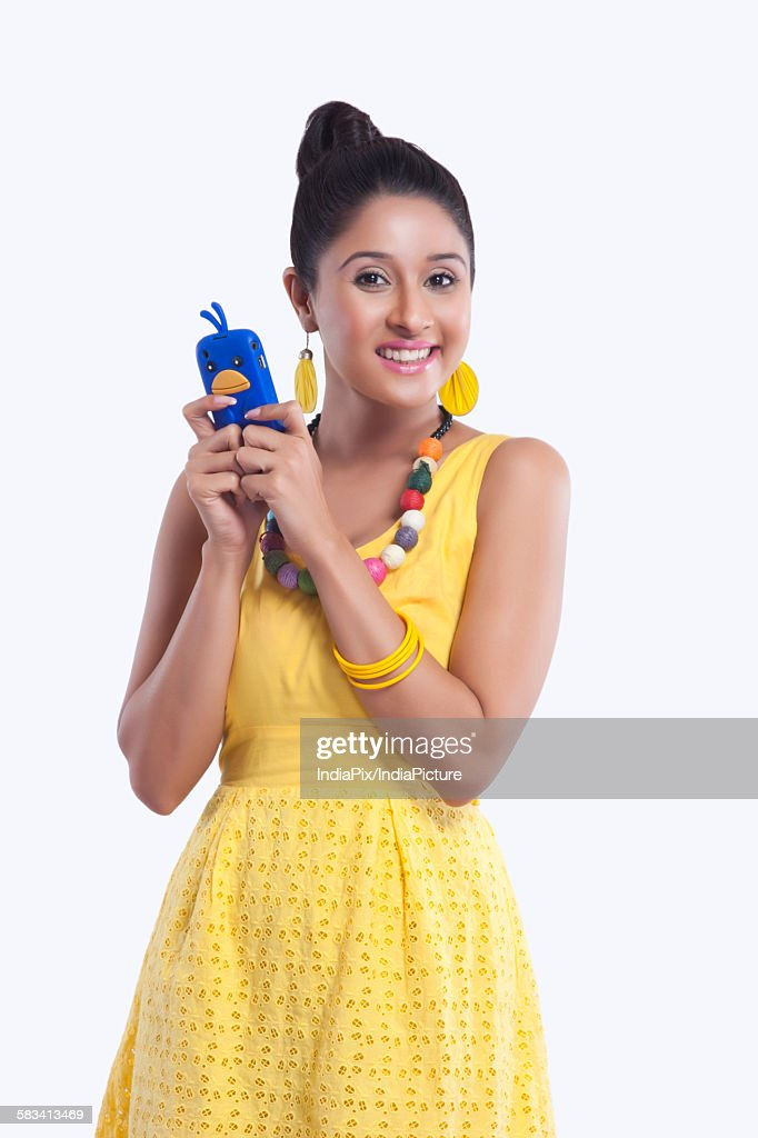 Portrait of woman with mobile phone : Stock Photo