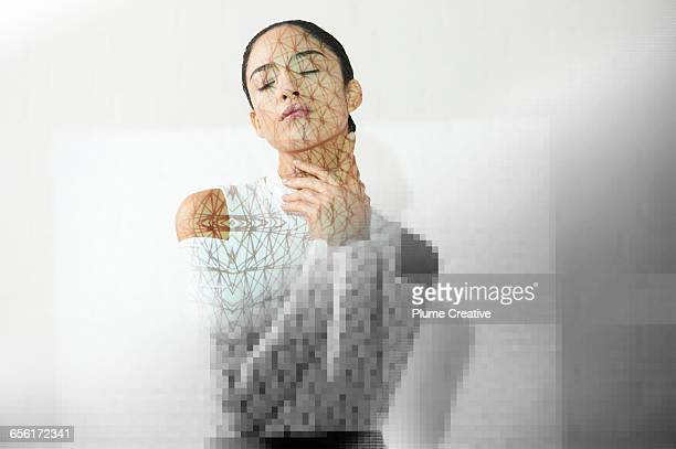 Portrait of woman with pixelation