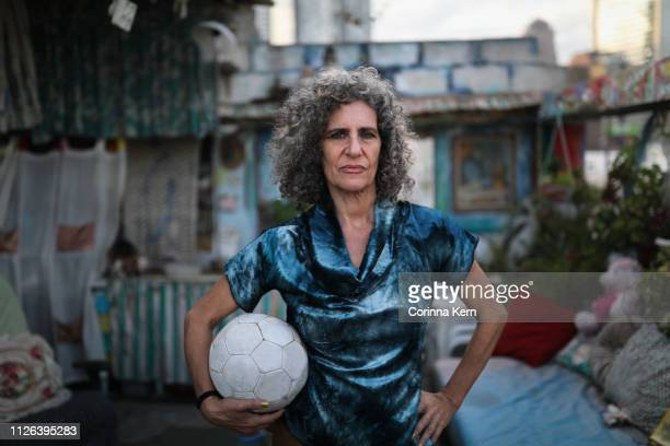 portrait of woman with soccer ball - israeli woman stock pictures, royalty-free photos & images