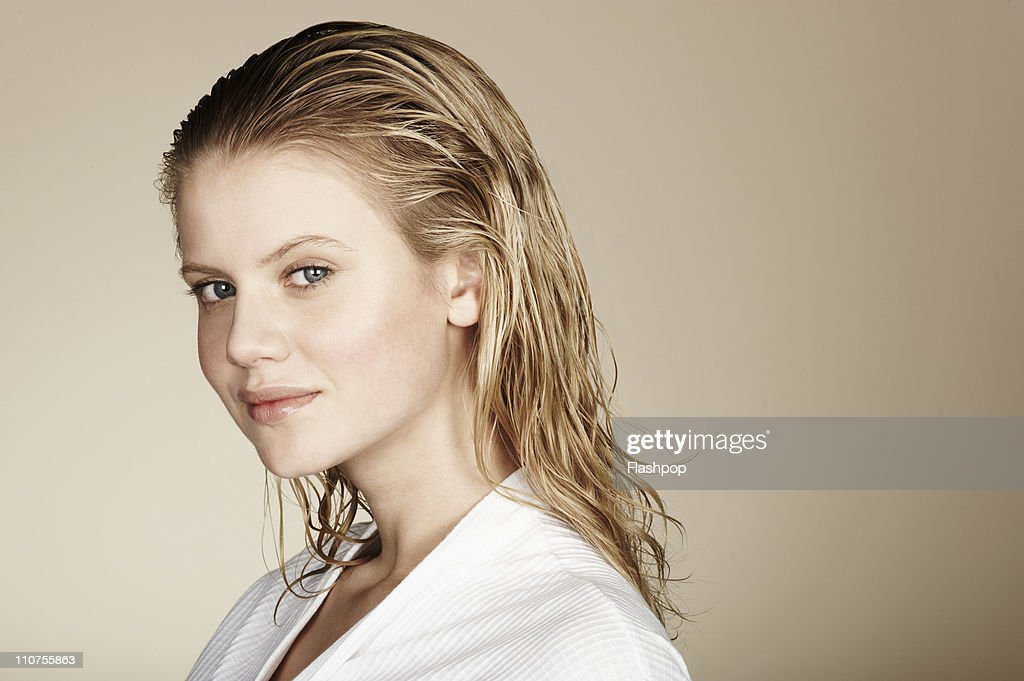Portrait of woman with wet hair : Stock Photo