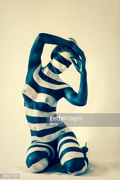 Portrait Of Woman With Zebra Print On Her Body