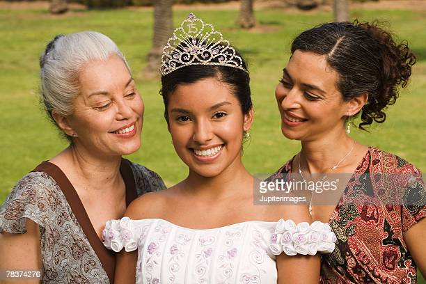 portrait of women at quinceanera - quinceanera stock pictures, royalty-free photos & images