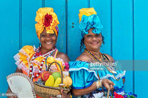 portrait of women in cuban traditional dresses - cuba foto e immagini stock