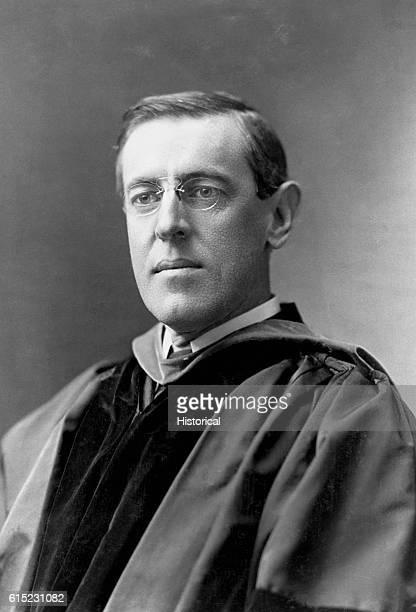 Portrait of Woodrow Wilson when he was president of Princeton University. He wears formal university robes.
