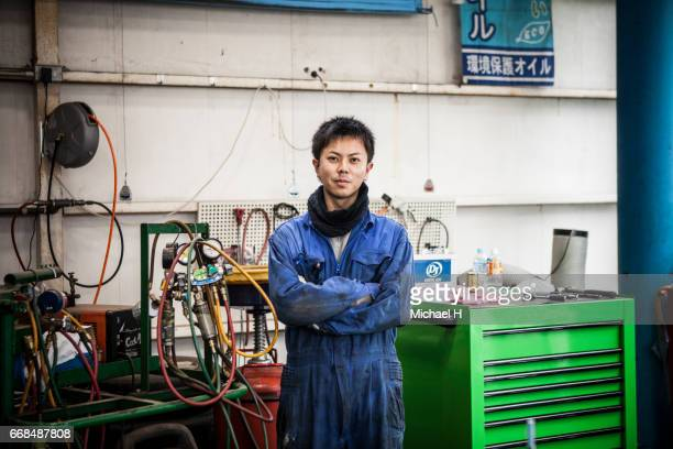 portrait of worker in  factory - muster ストックフォトと画像