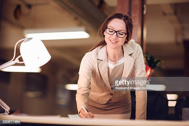 Portrait of working businesswoman