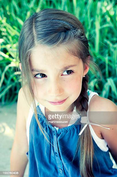"portrait of worried little girl by the pool. - ""martine doucet"" or martinedoucet stock pictures, royalty-free photos & images"
