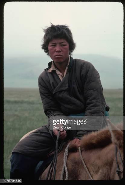 Portrait of Wrangler Atop Horse, Mongolia