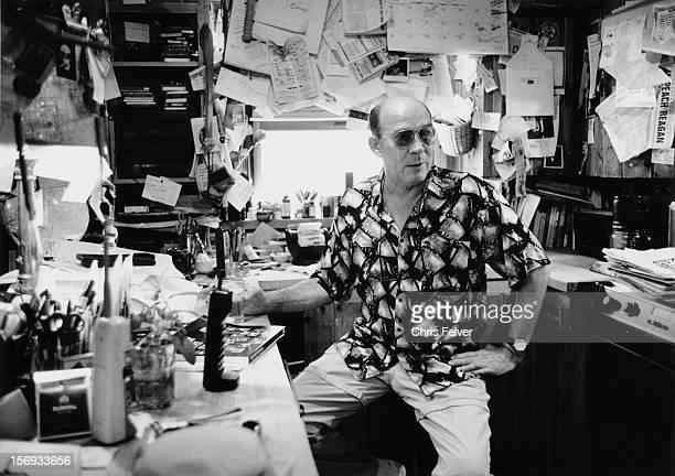 Portrait of writer journalist Hunter S Thompson in his office Aspen Colorado 1994