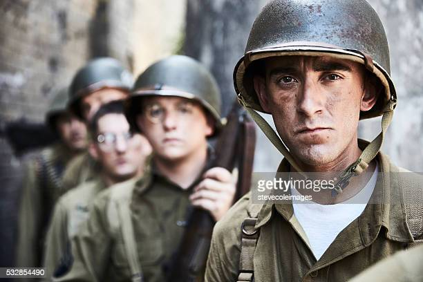 portrait of ww ll soldiers. - world war ii stock pictures, royalty-free photos & images