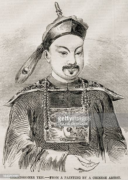 Portrait of Ye Mingchen governor of Liangguang and highranking Chinese Army officer during the First Opium War Engraving