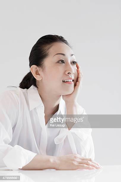 a portrait of yoga woman. - 後ろで束ねた髪 ストックフォトと画像