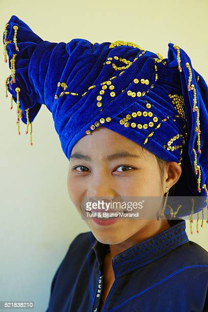 Portrait of young adult woman from Pa-O ethnic group, Inle lake, Shan state, Myanmar