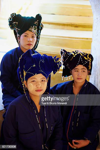 Portrait of young adult women from Pa-O ethnic group, Inle lake, Shan state, Myanmar