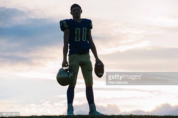 portrait of young american football player - safety american football player stock pictures, royalty-free photos & images