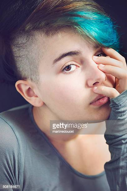 portrait of young androgynous woman