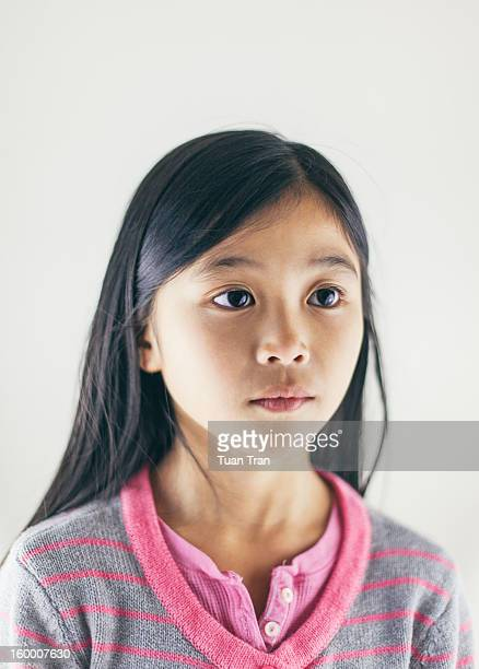 Portrait of young asian girl on white background