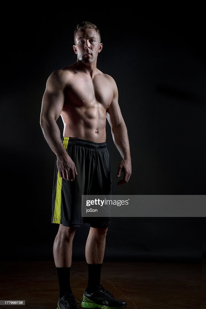 Portrait of young athlete male bare chests : Stock Photo