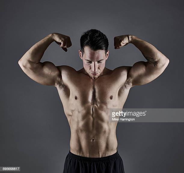 Portrait of young athletic male bodybuilder.