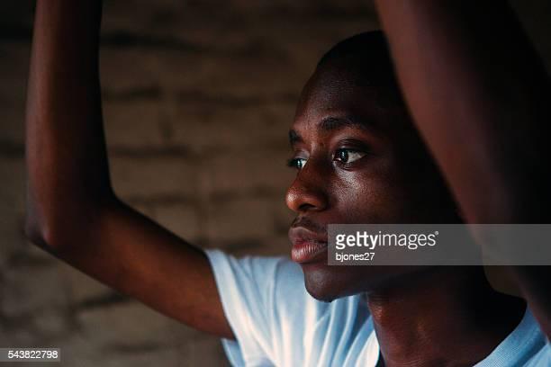 Portrait of young black man downtown Savannah