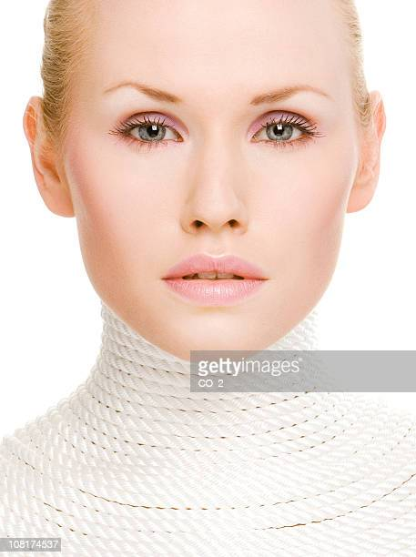 Portrait of Young Blonde Woman Wrapped in Rope