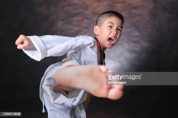 portrait of young boy doing karate moves - combat sport stock pictures, royalty-free photos & images