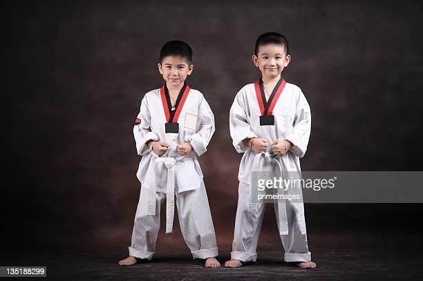Porträt eines jungen tun karate Bewegungen