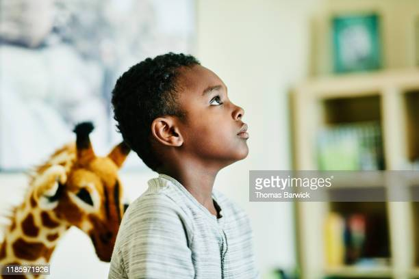 portrait of young boy in living room of home - animal representation stock pictures, royalty-free photos & images