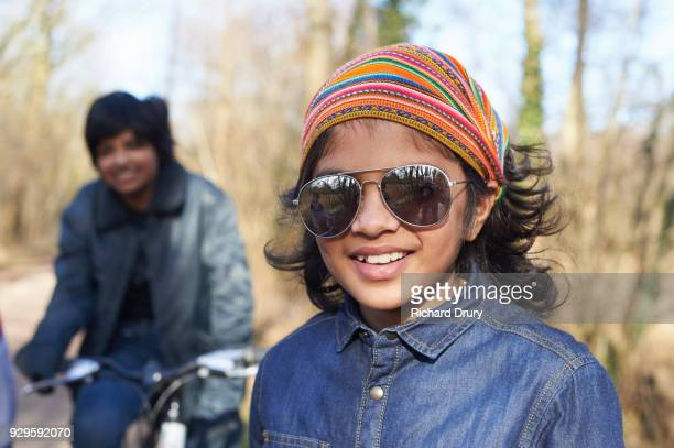Portrait of young boy on cycle track