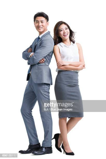 portrait of young business people - 背中合わせ ストックフォトと画像