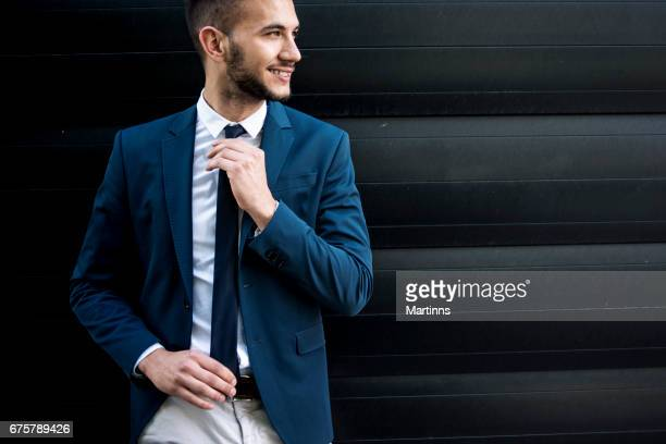 Portrait of young businessman enjoy in moment