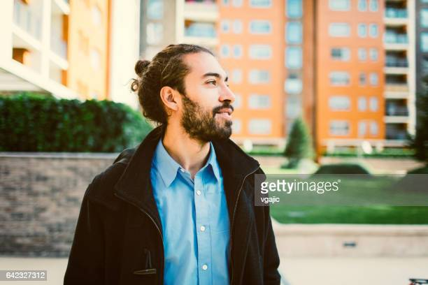 portrait of young businessman - man bun stock pictures, royalty-free photos & images