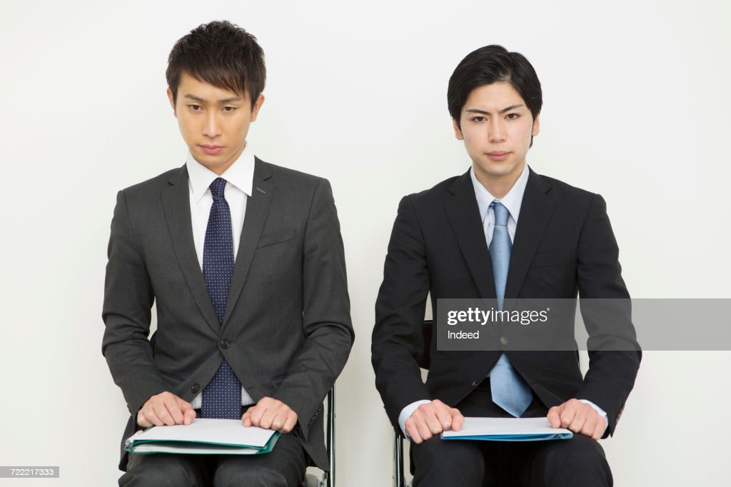 portrait of young businessman waiting for job interview ストック