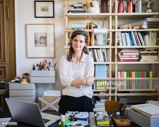 Portrait of young businesswoman in home office