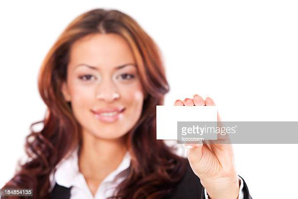 Portrait of young businesswoman with empty businesscard