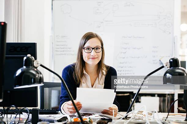 Portrait of young caucasian businesswoman