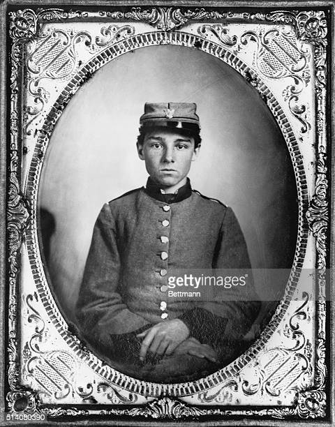 A portrait of young Confederate soldier Private Edwin E Jennison who was later killed at Malvern Hill during the United States Civil War