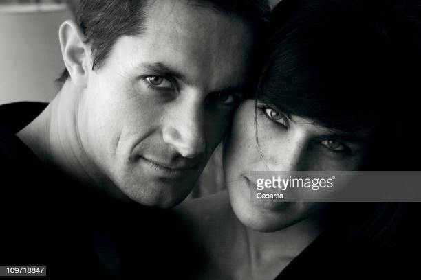 portrait of young couple, black and white - side by side stock photos and pictures