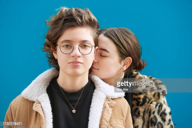 portrait of young couple. - lesbian dating stock pictures, royalty-free photos & images