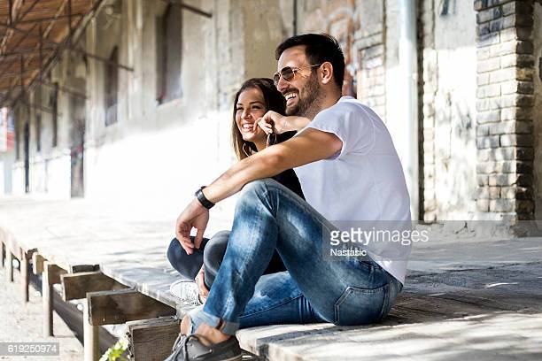 portrait of young couple - jeans stock pictures, royalty-free photos & images