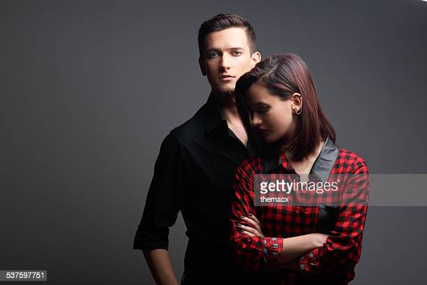 Portrait of young couple studio shot