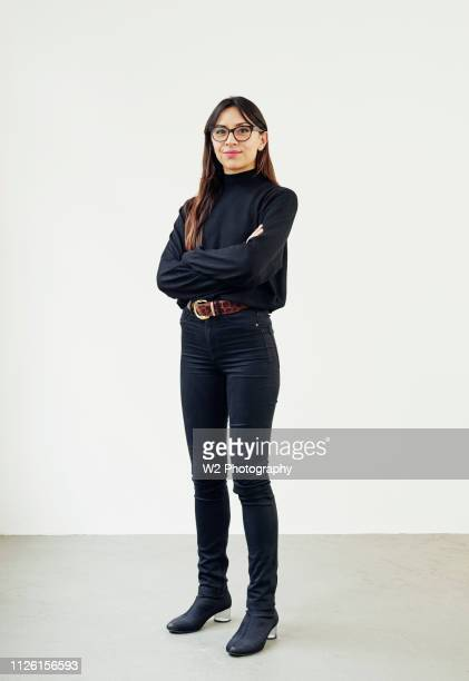 portrait of young creative wearing glasses. - girl power stock photos and pictures