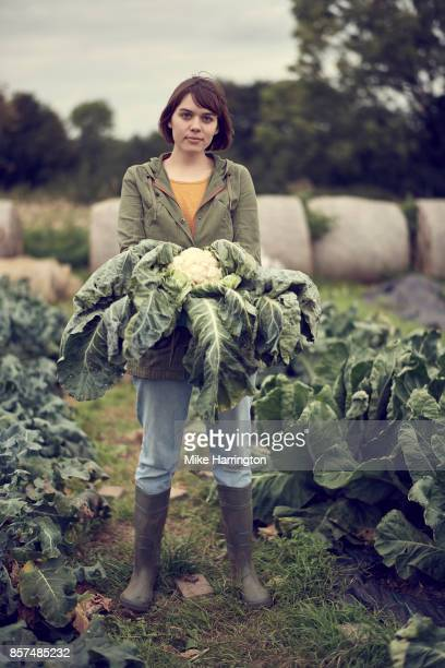 portrait of young female community farmer holding cauliflower - big mike stock pictures, royalty-free photos & images
