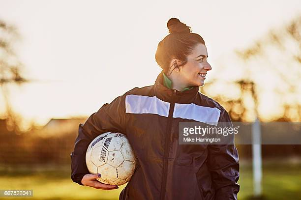 portrait of young female footballer - football player stock pictures, royalty-free photos & images