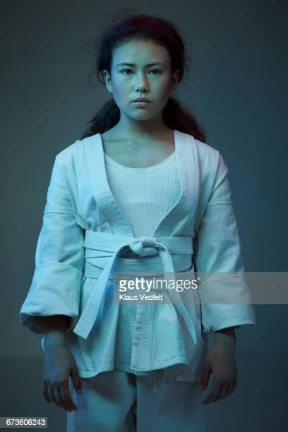 Portrait of young female martial arts athlete