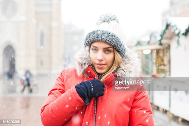 Portrait of young girl at winter market