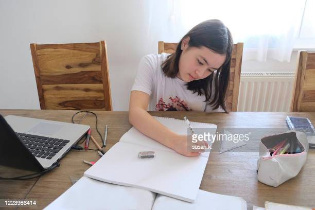 portrait of young girl having homeschooling. - 左利き ストックフォトと画像